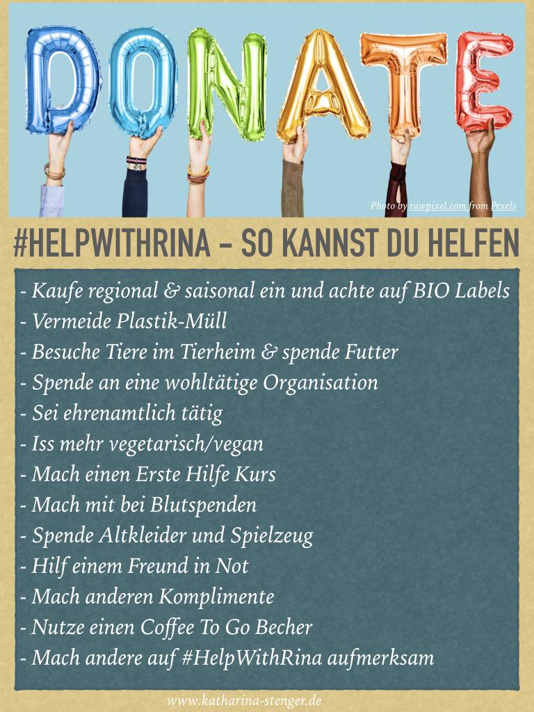 Gute Taten ohne großen zeitlichen & finanziellen Aufwand für die Spenden-Aktion #HelpWithRina
